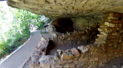 Walnut Canyon National Monument Cliff Dwelling Ruins- Flagstaff AZ Stock Footage