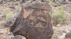 Petroglyph located at Boca Negra Canyon, New Mexico - stock footage