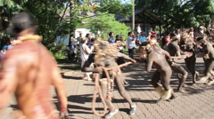 Tapati parade with men pulling wood at the Easter Island, Rapa Nui Stock Footage