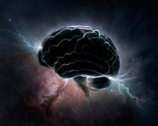 cosmic intelligence - brain in universe - stock illustration