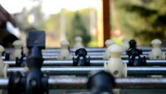 Playing table football Stock Footage