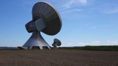 Satellite dish, raisting satellite earth station Stock Footage