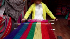 Chinese traditional weaving technique Stock Footage