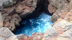 Lava Tube With Blue Sea Water Waves, Hawaii Stock Footage