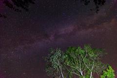 milky way galaxy on nigh sky - stock photo