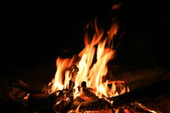 Stock Photo of camp fire in dark night