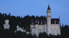 Schloss neuschwanstein castle at night Stock Footage
