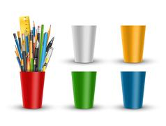 Pen and pencils in glass - stock illustration