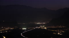 4K timelapse of the nightly view over Liechtenstein with capitol Vaduz at night Stock Footage