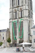 Saint aubin tower - the bell towert in angers Stock Photos