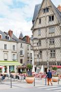 People on place sainte-croix in anges, france Stock Photos