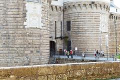 Entrance in castle of dukes of brittany in nantes Stock Photos