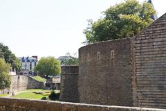 Walls and vallum of castle of dukes of brittany Stock Photos