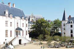 Courtyard in castle of dukes of brittany in nantes Stock Photos