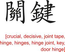 Chinese Sign for crucial,decisive,joint tape,hinge,key,door hinge - stock illustration