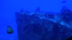 Passing by Sunken Ship In Submarine, Amazing Underwater View Stock Footage