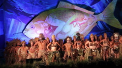Big group dancers at the Tapati festival in the evening at the Easter Island Stock Footage