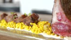 Gourmet Rack of Lamb Platter Stedicam Stock Footage