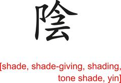 Chinese Sign for shade, shade-giving, shading, tone shade, yin Stock Illustration