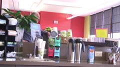 Coffee house customer coffee counter MS Stock Footage