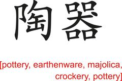 Chinese Sign for pottery, earthenware, majolica,crockery,pottery - stock illustration