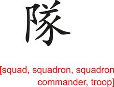 Chinese Sign for squad, squadron, squadron commander, troop - stock illustration