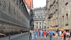 Dresden the old town and the Fürstenzug (Procession of Princes) Stock Footage