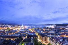 Panoramic night view of the city of Geneva, Lake Geneva Kuvituskuvat