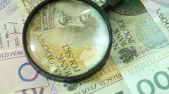 Polish zloty banknotes with magnifying glas. Full HD with motorized slider1080p Stock Footage