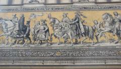 The Fürstenzug (Procession of Princes) in Dresden, Germany. Stock Footage