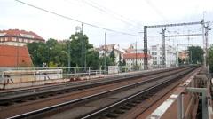 Train pass through a bridge in Prague Stock Footage