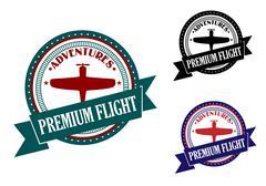premium flight adventures symbol - stock illustration