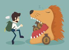 businessman steal money from lion - stock illustration