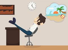 businessman relax dream - stock illustration