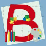 "Letter ""b"" from stylized alphabet with children's toys Stock Illustration"