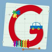 "Letter ""g"" from stylized alphabet with children's toys Stock Illustration"