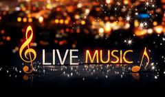 Live Music Gold Silver City Bokeh Star Shine Yellow Background 3D Stock Illustration