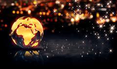 Globe Glass Crystal Gold City Light Shine Bokeh 3D Background - stock illustration