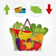 supermarket basket with vegetables and the payment method - stock illustration