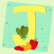 """letter """"j"""" from stylized alphabet with fruits and vegetables - stock illustration"""