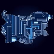 Stock Illustration of map of bulgaria with electronic circuit