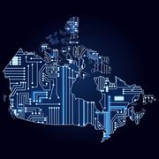 map of canada with electronic circuit - stock illustration