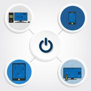 Diagram, electronic equipments and button Stock Illustration