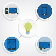 Electronic equipments, creativity and electricity Stock Illustration