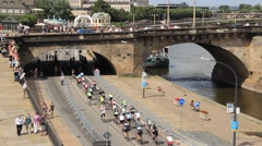 Cycling race in Dresden, Germany Stock Footage
