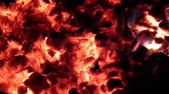 Hot Fire Burning Embers at Night Stock Footage