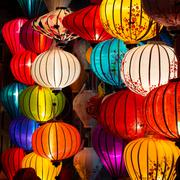 Traditional Lamps in Old Town Hoi An, Vietnam Stock Photos