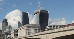 Red bus over London bridge 4K Stock Footage