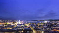 Time lapse 4k night view of the city of Geneva, Lake Geneva Switzerland - stock footage