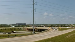 Interstate I-96 expressway interchange viewed from the air. - stock footage